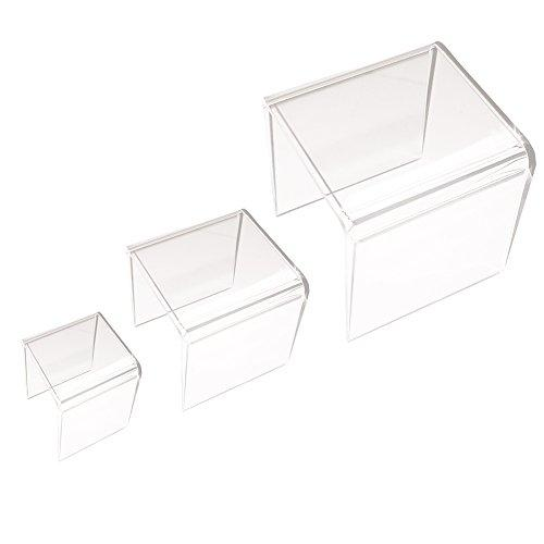 Clear Acrylic Riser Stand Set of Three (3-Inch, 4-Inch, 5-Inch) - zingydecor