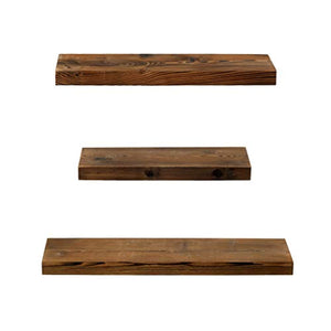 Rustic Farmhouse 3 Tier Floating Wood Shelf - Floating Wall Shelves (Set of 3), Hardware and Fasteners Included (Walnut, 3 Tier) - zingydecor