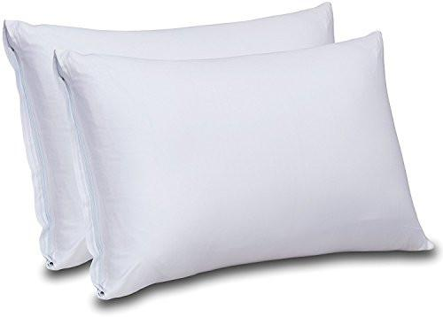 Cotton Sateen Zippered Pillow Cases - 2 Pack (Queen, White) - Sateen Pillow Cover for Maximum Softness - Easy Care, Elegant Double Hemmed Stitched Pillow Encasement, 300 Thread Count by Utopia Bedding