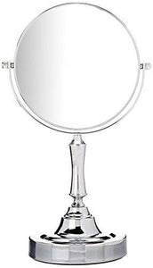 Sagler Vanity Mirror Chrome 6-inch Tabletop Two-Sided Swivel with 10x Magnification, makeup mirror 11-inch Height, Chrome Finish - zingydecor