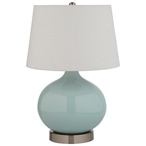 "Image of Stone & Beam Light Blue Ceramic Lamp, 20""H, With Bulb, White Shade"