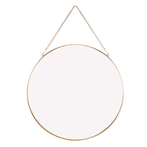 Dahey Wall Hanging Mirror Decor Gold Round Mirror with Hanging Chain for Home Bathroom Bedroom Living Room,11.75