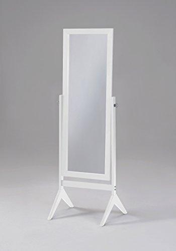 White Finish Wooden Cheval Bedroom Free Standing Floor Mirror (Cheval White) by eHomeProducts - zingydecor