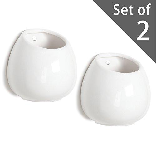 4 Inch Small Wall Mounted Ceramic Flower Plant Vase, Succulent Planter Pots, Set of 2, White - zingydecor
