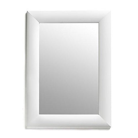 White Rectangular Framed Wall Mirror, 19x26-Inch