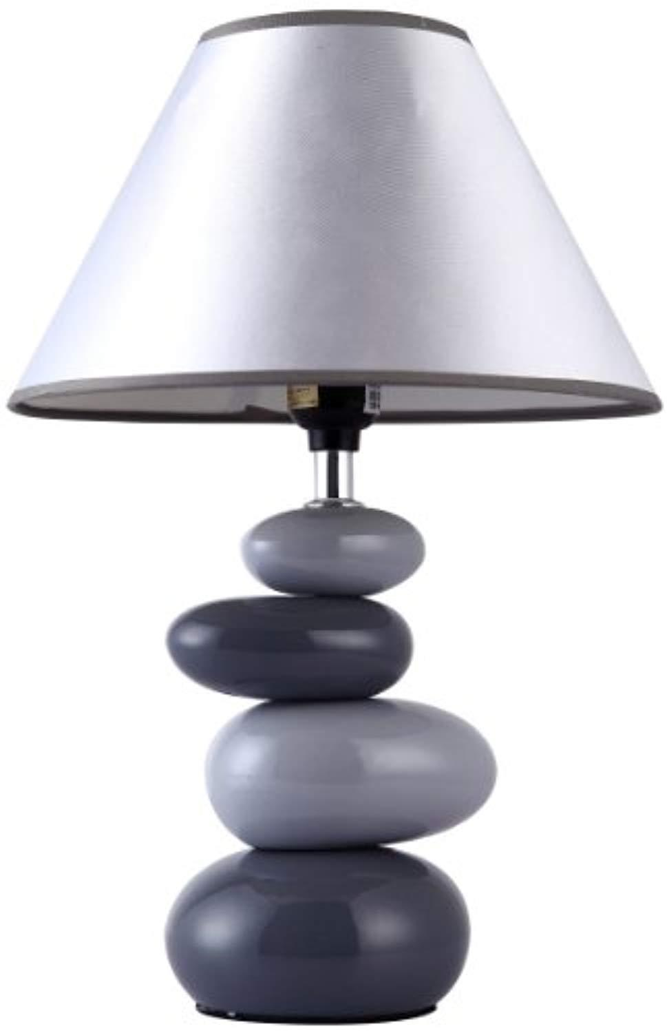 Simple Designs Home LT3052-GRY Shades of Gray Ceramic Stone Table Lamp - zingydecor