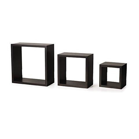 Image of Melannco Square Wood Shelves, Set of 3, Espresso