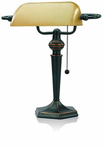 V-LIGHT Traditional Style CFL Banker's Desk Lamp with Amber Glass Shade (CAVS91045BRZ) - zingydecor