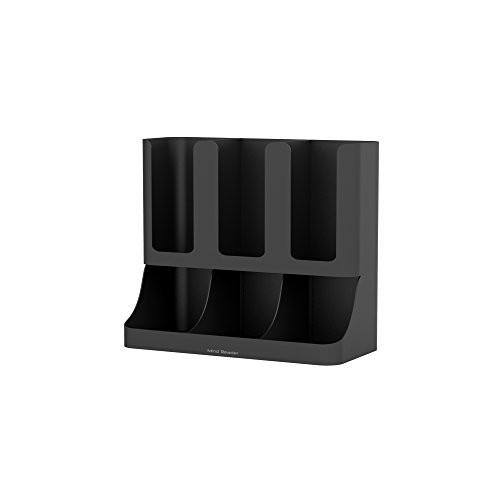 Mind Reader Flume' 6 Compartment Upright Coffee Condiment and Cups Organizer, Black