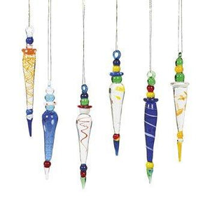 Oriental Trading Company Glass Icicle, Multi Color, 12 Count - zingydecor