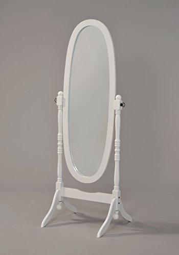 Wooden Cheval Floor Mirror, White Finish by eHomeProducts - zingydecor