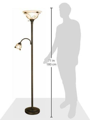 Normande Lighting JM1-884 71-Inch 100-Watt Incandescent Torchiere Floor Lamp with 40-Watt Side Reading Lamp