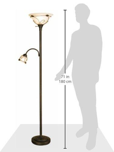 Normande Lighting JM1-884 71-Inch 100-Watt Incandescent Torchiere Floor Lamp with 40-Watt Side Reading Lamp - zingydecor