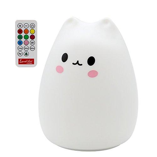 ANTEQI Carton Night Light Silicone Remote Timer Cute Cat Lamp Tap Control Lamp For Kids Bedroom...