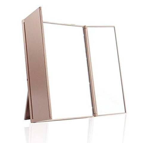 Image of Expower Tri-Fold Lighted Travel Makeup Mirror, Compact Led Light Vanity Mirrors Folding Illuminating Travel Mirror with 8 Led Lights