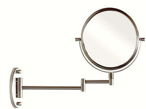 DecoBros 9.8-Inch Two-Sided Swivel Wall Mount Mirror with 7x Magnification, 13.5-Inch Extension, Nickel - zingydecor