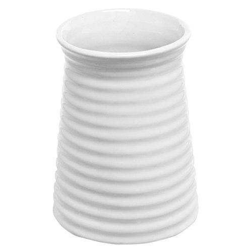5.7 inch Modern Ribbed Design Small White Ceramic Decorative Tabletop Centerpiece Vase / Flower Pot - zingydecor