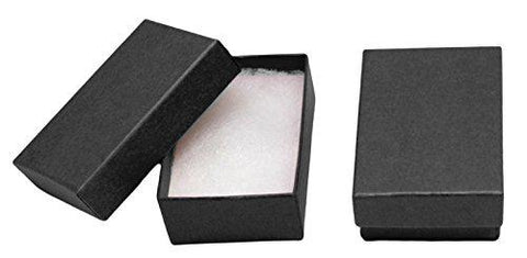 "Image of Novel Box MADE IN USA Jewelry Gift Box in Black Kraft With Removable Cotton Pad 2.5X1.8X1"" (Pack of 25) + Custom NB Pouch"