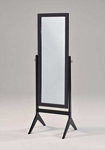 Black Finish Wooden Cheval Bedroom Free Standing Floor Mirror