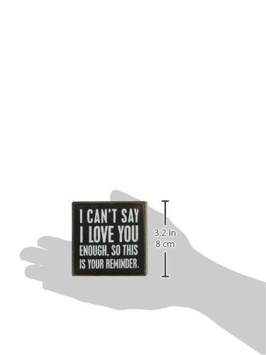 Primitives by Kathy Box Sign, 3 by 3-Inch, I Love You - zingydecor