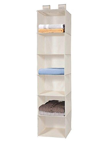 Closet Hanging Shelf, MaidMAX 6-Shelf Collapsible Hanging Accessory Organizer with 2 Widen Velcros for Clothes and Shoes Storage for Gift, Beige