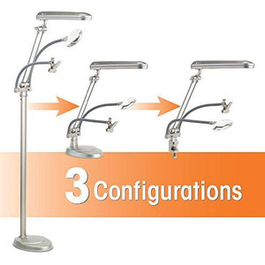 OttLite K94CP3 3-in-1 Adjustable-Height Craft Floor Lamp with Magnifier and Clip, Champagne