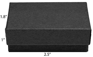 "Novel Box MADE IN USA Jewelry Gift Box in Black Kraft With Removable Cotton Pad 2.5X1.8X1"" (Pack of 25) + Custom NB Pouch - zingydecor"