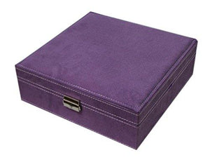 Sodynee Two-Layer Lint Jewelry Box with Lock, Purple - zingydecor