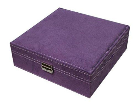 Image of Sodynee Two-Layer Lint Jewelry Box with Lock, Purple