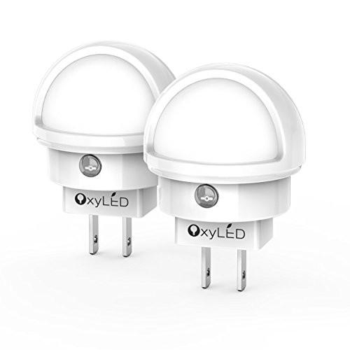 OxyLED N02 LED Night Light, Plug-in Wall Light with Dusk to Dawn Sensor, 0.26W White Light with...