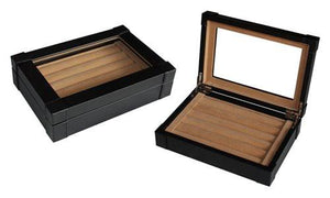 Black Leatherette Cufflink Case & Ring Storage Organizer Men's Jewelry Box for Cufflinks - zingydecor