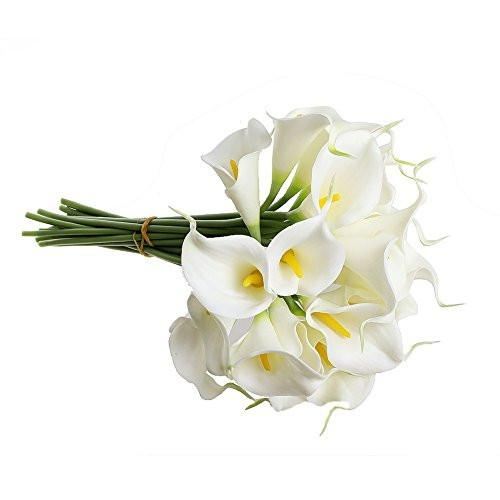 1 X Calla Lily Bridal Wedding Bouquet 10 head Latex Real Touch Flower Bouquets KC51 White - zingydecor
