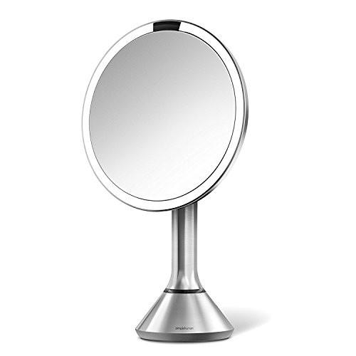 simplehuman 8 Inch Sensor Mirror, Lighted Makeup Vanity Mirror, 5x Magnification - zingydecor