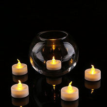 Load image into Gallery viewer, Pack of 24 Flameless LED Tea Light, Amber Yellow Flickering Bulb, Long Lasting Battery Operated Electric votive candle, Realistic and Bright Faux tealights Dia 1.4 - zingydecor