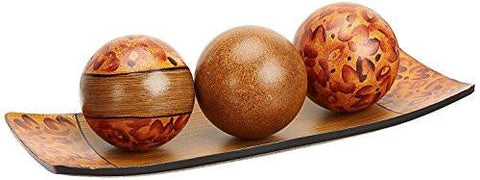 Image of Hosley's Brown Decorative Tray and Orb/ball Set. Burlwood Style Finish. Great Gift