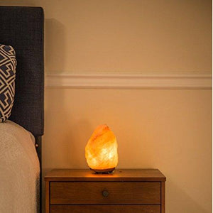 "Natural Himalayan Hand Carved Salt Lamp with Indian Rosewood Base, Bulb And Dimmer Control, Medium Size, 8-11 lbs, 7.5-10"" Height - zingydecor"