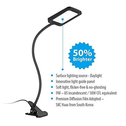 TROND Halo 9W-C Dimmable Daylight LED Clamp Light Desk Lamp w/ Extra Long Aluminum Gooseneck & Premium Diffusion Film, for Headboard, Workbench, Studio, Drafting Table, Bedside Reading & Task Lighting