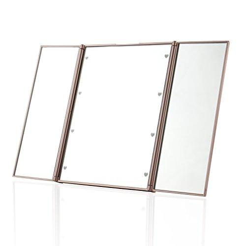 Expower Tri Fold Lighted Travel Makeup Mirror Compact Led