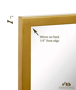 "Commercial Grade Contemporary Industrial Strength Full Length Wall Mirror | Brushed Gold Metal Rectangle with Mirrored Glass | Vanity, Entrance, Bedroom, or Restroom Horizontal & Vertical (18"" x 48"") - zingydecor"