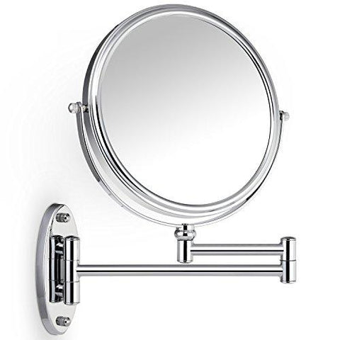 Image of Miusco 7X Magnifying Two Sided Vanity Makeup Mirror, 8 inch, Wall Mount, Round, Chrome
