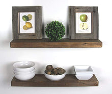 "Load image into Gallery viewer, SOLID RUSTICS Handmade Rustic Wood Floating Wall Shelves, Walnut, Set of 2, (24"" Walnut) - zingydecor"