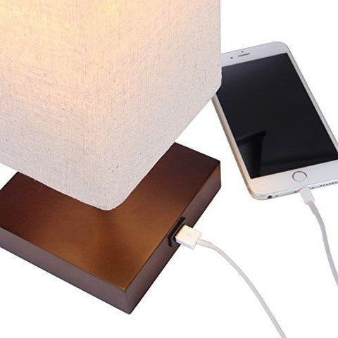 Image of Brightech Grace LED USB Bedside Table & Desk Lamp – Modern Lamp with Soft, Ambient Light, Unique Lampshade & Functional USB Port – Perfect for Table in Bedroom, Living Room, or Office – Havana Brown - zingydecor