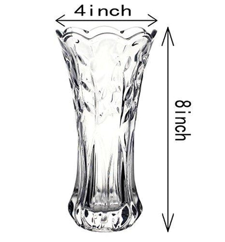 "SLY Flower Vase Glass Thickness Design For Home Decor,Wedding vase or Gift - 8""High x4""Wide,Clear, With Gift Box"