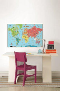 Wall Pops  WPE0624 Kids World Dry Erase Map Decal Wall Decals - zingydecor