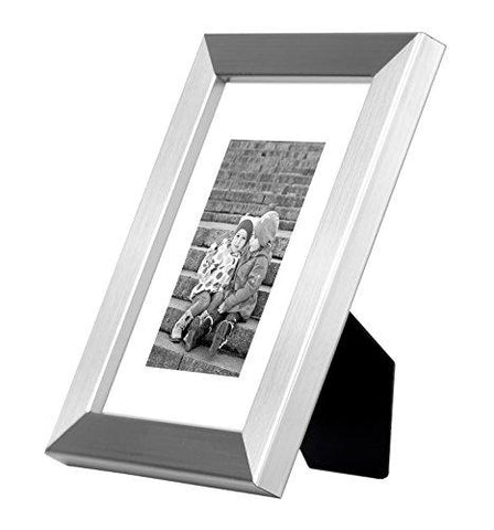 Image of 8x10 Silver Picture Frame - Made to Display Pictures 5x7 with Mat or 8x10 Without Mat - Real Glass - Standing Hardware Included - zingydecor