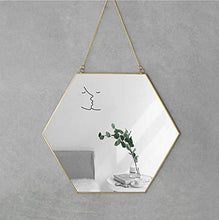 "Load image into Gallery viewer, Dahey Wall Hanging Mirror Decor Gold Round Mirror with Hanging Chain for Home Bathroom Bedroom Living Room,11.75""X11.75"""
