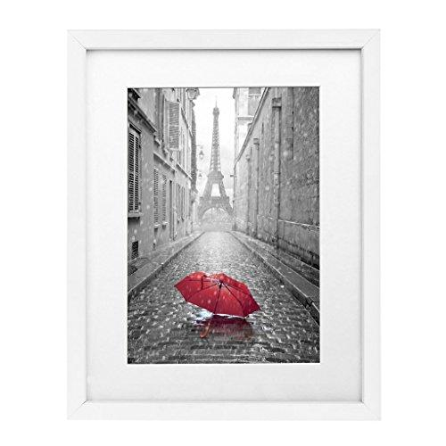 11x14 White Wall Picture Frame - Made to Display Pictures 8x10 with Mat or 11x14 Without Mat - Made with Glass - zingydecor