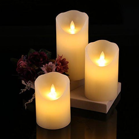 "Image of Flameless Candles 4"" 5"" 6"" Set of 3 Ivory Dripless Real Wax Pillars Include Realistic Dancing LED Flames and 10-key Remote Control with 24-hour Timer Function-Antizer"