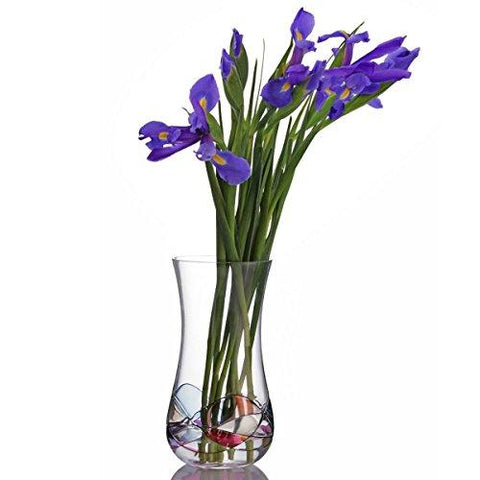 Image of Handcrafted Blown Glass Flower Vase by Sonoma Artisan; Elegant Design with a Modern Twist; Use to Display Beautiful Bouquets or as a Decorative Accent; Unique & Special Gift Idea for Many Occasions