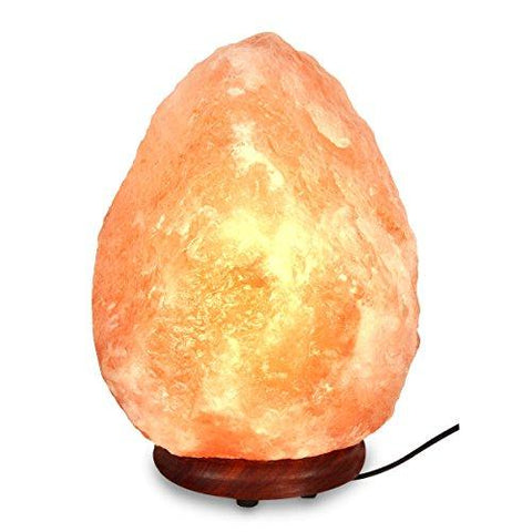 "Image of Natural Himalayan Hand Carved Salt Lamp with Indian Rosewood Base, Bulb And Dimmer Control, Medium Size, 8-11 lbs, 7.5-10"" Height"